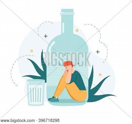 Alcohol Addiction. Drunk Man Inside Alcohol Bottle, Bad Habit And Unhealthy Lifestyle, Alcohol Addic