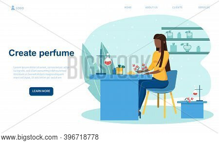 Woman Creating New Perfume. Female Character Sitting At Table, Mixing Ingredients For New Scent. Per