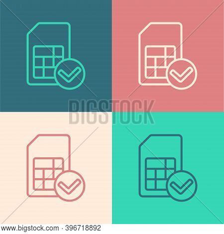 Pop Art Line Sim Card Icon Isolated On Color Background. Mobile Cellular Phone Sim Card Chip. Mobile