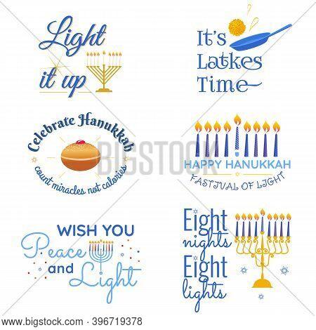 Happy Hanukkah Vector Traditional Jewish Holiday Phrases Typography Quotes Set. Chanukah Humorist Wi
