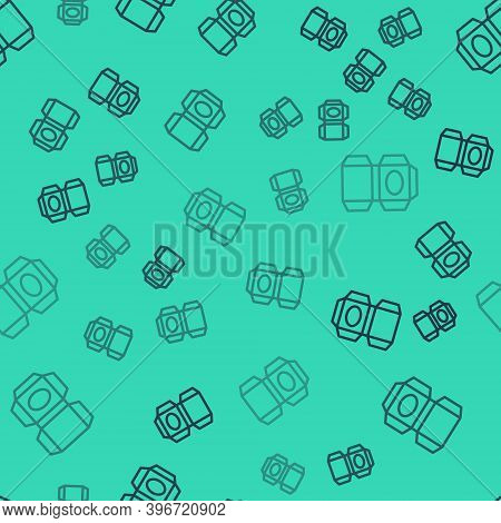 Black Line Carton Cardboard Box Icon Isolated Seamless Pattern On Green Background. Box, Package, Pa