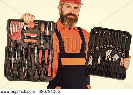 Handyman Concept. Electrician Tools. Professional Equipment. Dream Of Handyman. Set Of Tools. Screwd