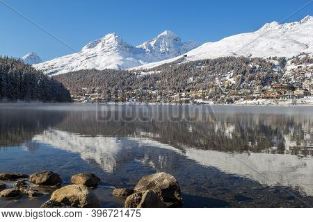 Lake Of St. Moritz Looking At The Town Center - A Famous Swiss Ski Resort In Engadin, Switzerland
