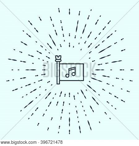 Black Line Music Festival, Access, Flag, Music Note Icon Isolated On Grey Background. Abstract Circl