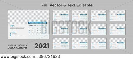 Corporate Minimal Calendar Design 2021 ,2021 Desk Calendar With Blue Layout,blue Desk Calendar 2021,
