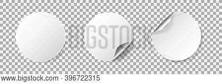 Round Empty Stickers With Rolled Corner And Shadow. Realistic Blank White Promotional Labels With Cu