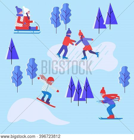 Winter Outdoors Activities. People Having Fun And Activities Skiing, Skating, Snowboard And Sledding