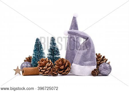 Christmas Arrangement With Gray Santa Claus Hats, Fir Cones, Mininature Christmas Trees, Tree Bauble