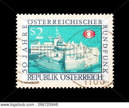 Austria - Circa 1974 : Cancelled Postage Stamp Printed By Austria, That Celebrates 50 Years Of Austr