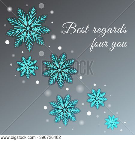 Winter Grey Greeting Card With Snowflakes And Glowing Dots. Vector Design Of Modern Holidays Backgro
