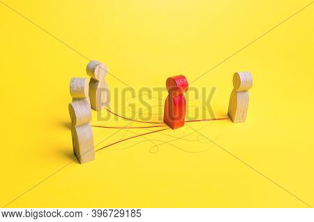 Red Man Is A Mediator Between People. Ensuring Communication Between The Parties To Negotiations Pro