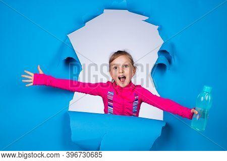 Pretty Teen Girl With Water Bottle In Sport Wear, Thirsty