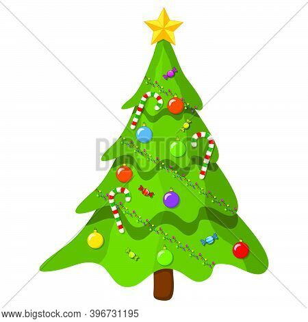 Christmas Tree With Ornaments. Cartoon Illustration Isolated On White Background. Vector Fir Tree Wi