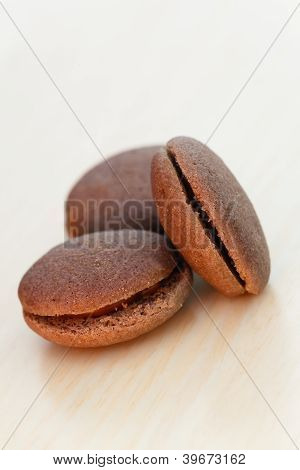 Chocolate Marron Cookies With Black Chocolate Cream