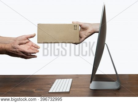 Delivering A Parcel From A Computer Screen