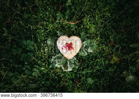 Photo Of Illuminated Heart Biscuit (cake) Covered Of Sugar Laying On The Green And Frozen Grass - Or