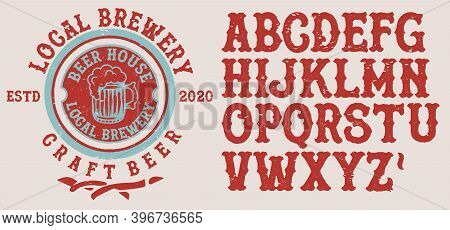 Retro Set Styled Label Of Beer, Restaurants And Eateries . Good As A Template Of Advertisement.lette