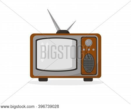 Old Or Retro Tv Icon. Vintage Television Model Isolated On White Background. Vector Illustration.