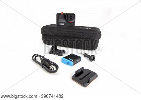Moscow, Russia - November 20, 2020: New Flagship Action Camera Gopro Hero 9 With Oroginal Special Ca
