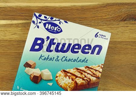 Zaandam, The Netherlands - November 26, 2020: Package Of B'tween Cereal Bars On A Wooden Table.