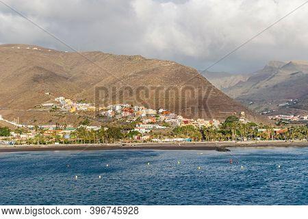 San Sebastian De La Gomera Located In The Valley Barranco De La Villa Seen From The Cruise Ship Term