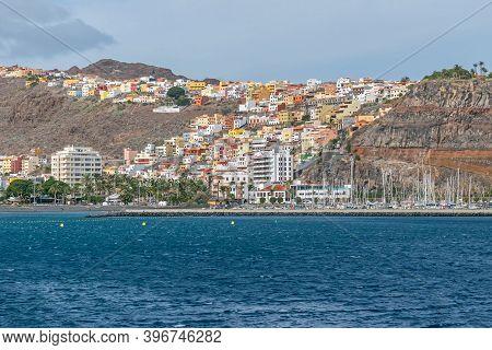 San Sebastian De La Gomera Located In The Valley  Barranco De La Villa Seen From The Cruise Ship Ter