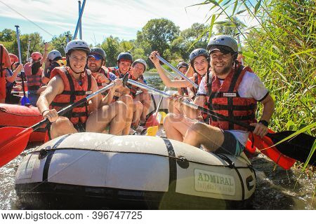 Chiang Mai, Thailand - May 12 2020 : White Water Rafting On The Rapids Of River Maetang  In Chiang M