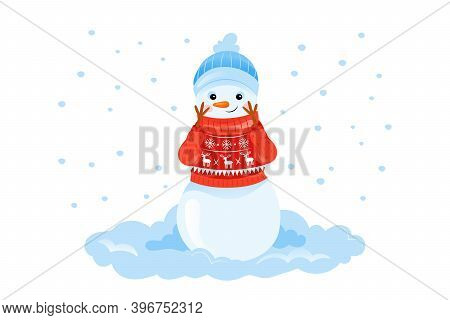 Colorful Vector Illustration In Cartoon Flat Style Of Happy Smiling Snowman Character In Sweater On