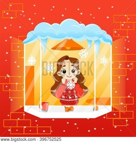 Cosy Wintertime Scene Illustration In Cartoon Flat Style With Gradients. Vector Composition Of Schoo