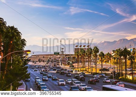Las Vegas, Usa - January 13, 2020: Highway Traffic In Nevada. Cars On Road. City Infrastructure. Mou