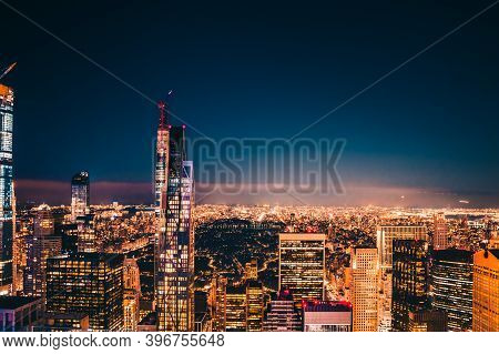 New York City. Famous View Of Midtown Manhattan Skyline With Illuminated Skyscrapers, Central Park A
