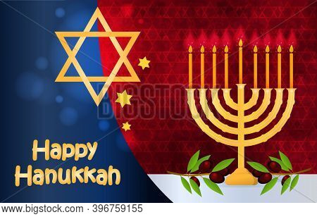 Happy Hanukkah Card. Concept Of Celebrating Passover Holiday With Nice And Creative Jewish Symbols A