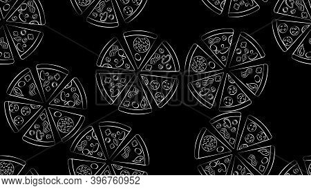 Pizza On A Black Background, Vector Illustration, Pattern In The Style Of Black And White Chalk Draw