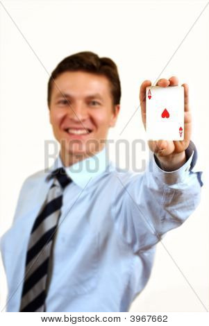 Businessman Holding A Ace Casino Card,Clipping Path Included