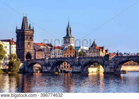 Prague, Czech Republic - august 30, 2020: Prague,  Czech Republic at summer and people walking on Charles Bridge