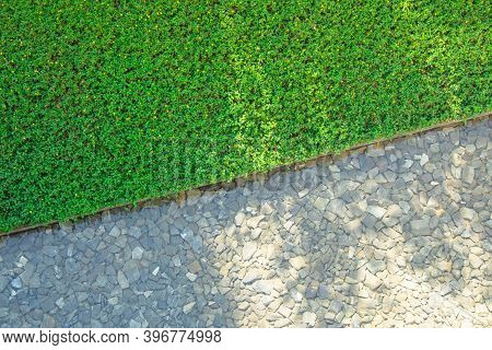 Outdoor Design Concept : Top View Of Fresh Water And Stones In Pond With Green Grass Meadow Field.