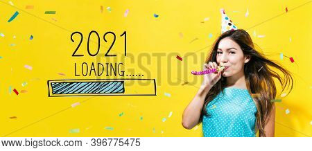 Loading New Year 2021 With Young Woman With Party Theme On A Yellow Background