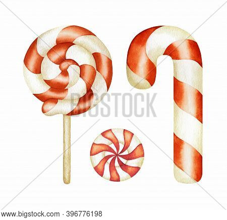 Watercolor Traditional Christmas Sweets Set. Candy Cane, Holiday Peppermint Lollipops With Red White