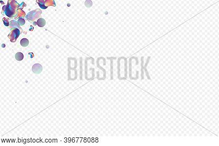 Iridescent Bubbles Splash Vector Transparent Background. Party Holography Banner. Light Organic Liqu