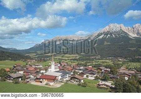 View To Popular Village Of Ellmau Am Wilden Kaiser,tirol,austria