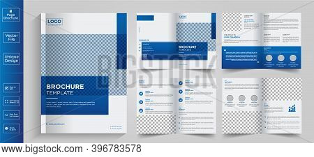Minimal & Clean Geometric Design Of 8-page Blue Color Template For Brochure, Flyer, Magazine, Catalo