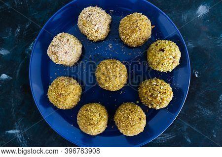 Plant-based Food, Homemade Fried Vegan Pesto Risotto Balls Arancini