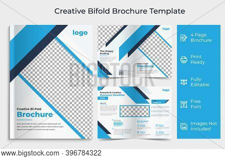 Corporate Bi-fold Brochure Design Template.business Bi-fold Brochure.bifold Brochure Layout.bi-fold
