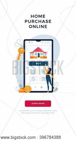 Home Purchase Online Banner. Woman Buying A New House, Touching The Button On Phone Screen. Mortgage