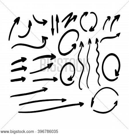 Hand Drawn Arrows Vector Icons For Presentation Graph And Chart Elements. Vector Isolated Black Arro