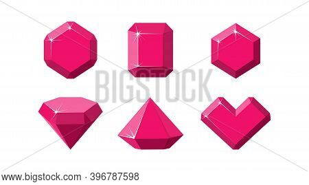 Ruby Gemstones Of Different Shapes. Red Ruby Crystals Isolated In White Background. Cartoon Vector I