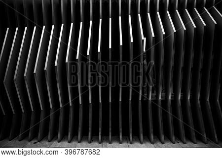 Architecture Steel Lines Background. Modern Building Design. Abstract Curved Shapes.