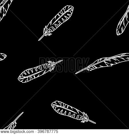 Bohemian Feathers Doodle White Lineart On Black Chalkboard Seamless Pattern. Freehand Owl Or Hawk Qu