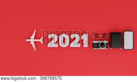 Happy New Year 2021: White Screen Mobile Mockup With Airplane, Camera, Luggage, And Sunglasses Over