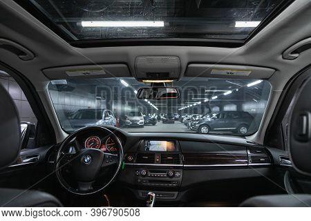 Novosibirsk, Russia - November 26, 2020: Bmw X5 , Luke, Windshield And Driver Seats